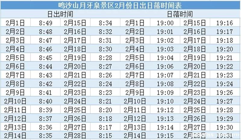 鸣沙山·月牙泉日出、日落时间表